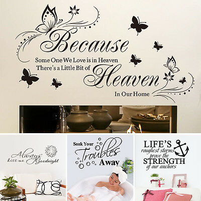 Removable Art Vinyl Wall Sticker Decal Mural Home Decor Quote Word Poem DIY GN