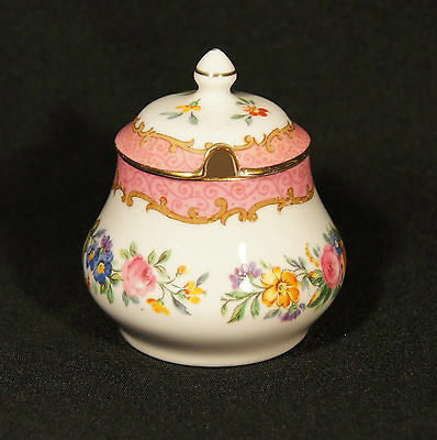 1950's Crown Staffordshire Lidded Mustard Pot  Rose Garland Very Good Condition.