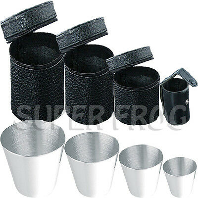 4PCS Stainless Steel Cups Mug Shot Cover Case PU Coffee Tea Beer Camping Tumbler