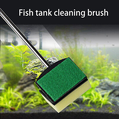 Glass Fish Tank Green Double Side Cleaning Brush Cleaner Tool Aquarium Brush