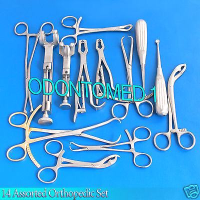 14 Assorted Orthopedic Surgical Instruments Custom Made Set,Sr-531