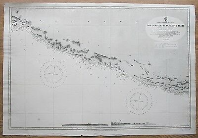 1878-9 Mexico Port Angeles To Mangrove Bluff Vintage Admiralty Chart Map