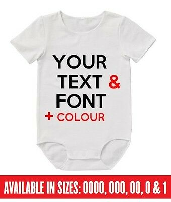 BABY Romper YOUR CUSTOM TEXT Bodysuit Funny Personalised Mum Dad Aunty Uncle