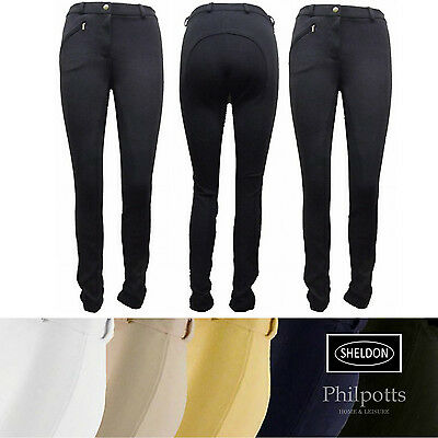 Sheldon Ladies Cozi Jodhpurs Horse Riding - Black, White, Beige, Blue, Yellow