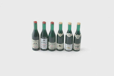 Dolls House Miniatures: Set of Six Wine Bottles : in 12th scale