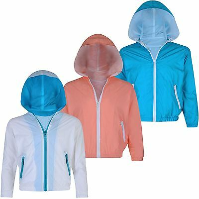 Kids Zip Windbreaker Jacket Girls Boys Long Sleeve Light Hooded Coat 3-12 Years