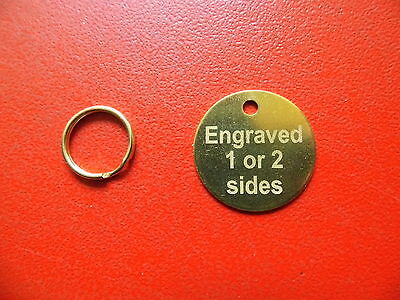 25mm ENGRAVED BRASS PET TAGS ID DISC TAG CAT DOG METAL BRASS + SPLIT RING