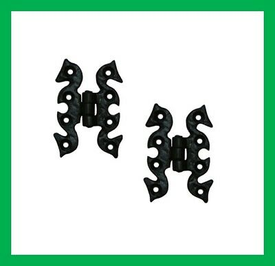 Cast Iron Black Antique Butterfly Snake Cabinet Door Hinges Pair & Fixing Screws