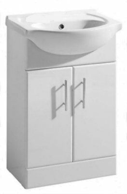 Bathroom Windsor 550mm White Gloss Vanity Unit Two Tap Hole Ceramic Basin  2