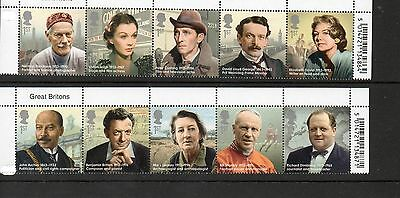 Stamps,GB, 10 stamps of Great Britons issued 2013