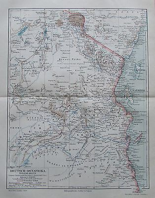 Deutsch-Ostafrika Afrika 1894 alte Landkarte Karte Lithographie antique map