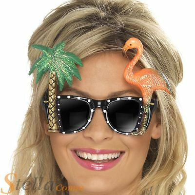 Flamingo Palm Tree Sunglasses Hawaiian Glasses Beach 80s Fancy Dress Party Specs