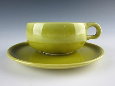 Steubenville Pottery AMERICAN MODERN Chartreuse Cup and Saucer Set(s) EXCELLENT