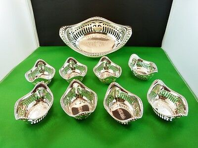 BEADED BORDER PIERCED NUT DISH SET 9 PC. with serving bowl BY GORHAM STERLING