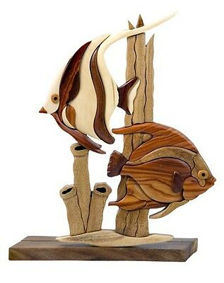 INTARSIA WOOD TROPICAL FISH TABLE DECOR, handsome handcrafted wood mosaic
