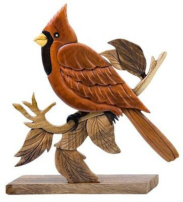 INTARSIA WOOD CARDINAL TABLE DECOR, handsome handcrafted wood mosaic