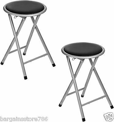 Pair of Black Seat Folding Stools Padded Chair Lightweight Kitchen Picnic New