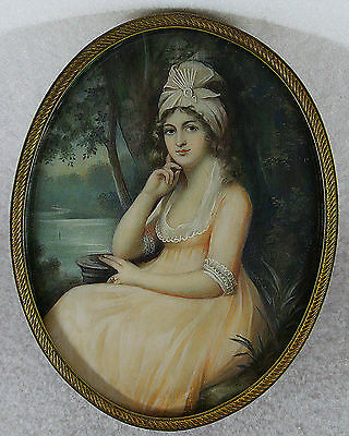 Richard Cosway Antique Hand Painted Miniature Portrait of a Lady