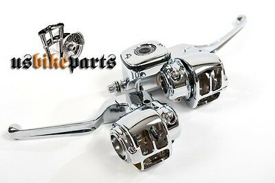 Handlebar control kit for Harley Davidson and custom bikes brake clutch chrome