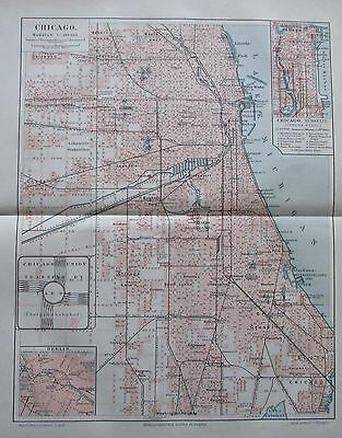 CHICAGO USA 1894 historische Landkarte Stadtplan Lithographie antique city map