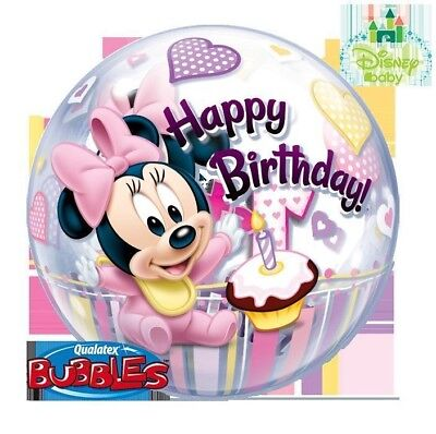 """22"""" Licensed Bubble Balloon - Minnie Mouse St Bday"""