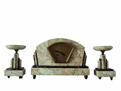 Antique French Art Deco Marble Clock set, fireplace, 1925