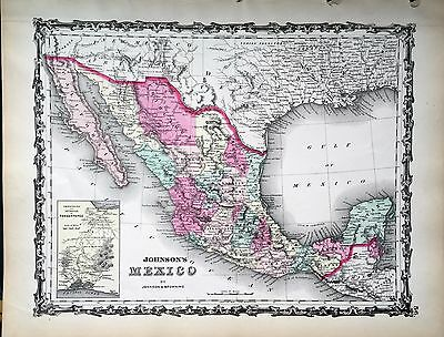 Johnson 1862 Map Mexico. Isthmus of Tehuantepec Texas