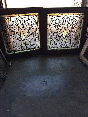 Sg 791 Matched Pair Antique Stainglass Windows Floral Design