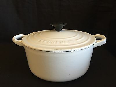 Vintage Le Creuset #18 White Enameled Cast Iron 2 Qt. Dutch Oven w/Lid France