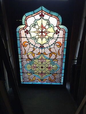 Sg 797 Incredible Gothic Point Arch Top Stainglass Landing Window