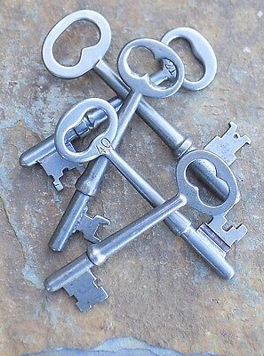Five  ( 5)  Antique  Mortise Lock Skeleton Keys  Antique Door Keys