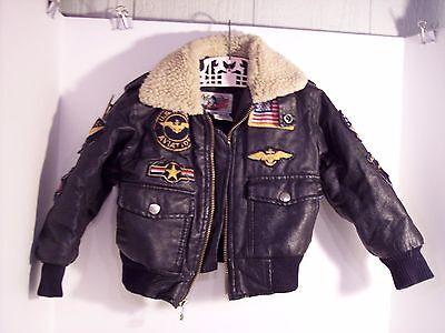 Vintage B52 Brown Bomber Aviator Jacket - Child Size 4 AirBorne Patches