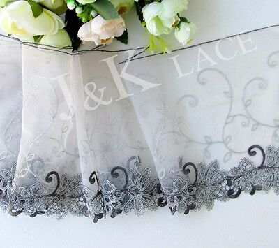19 cm width Exquisite Grey Embroidery Mesh Lace Trim