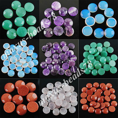 Natural Gem Stones Round Cabochon CAB No Drill Hole 16x6mm Jewelry Making MBN207