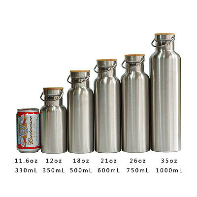 Premium Double Wall Vacuum Insulated Water Bottle Thermos with Bamboo Cap