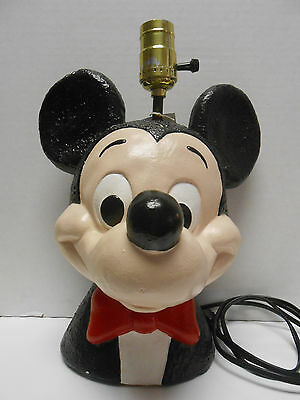"""VINTAGE MICKEY MOUSE TABLE LAMP CHALKWARE PLASTER DISNEY 10.5"""" TALL--no shade"""