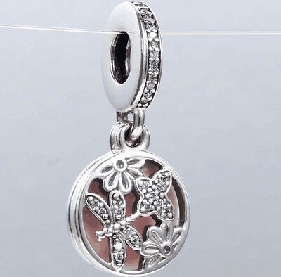DRAGONFLY & BLOOMS DANGLE 925 Sterling Silver Solid European Charm Bead