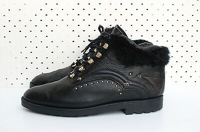 Size 41 80s 90s Vintage Black Leather STUDS Grunge Rock Lace up Ankle boots