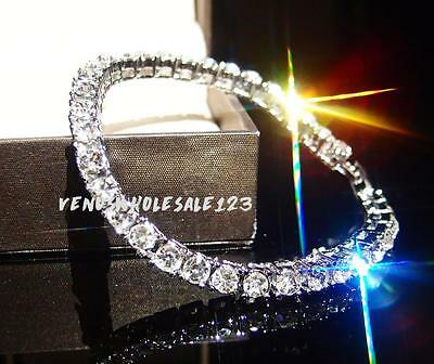 """7.5"""" 18K White Gold Fillled CLEAR CZ Iced Out 1 Row Chain HipHop Tennis Bracelet"""