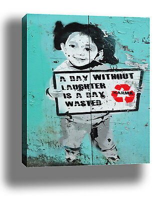 """BANKSY DAY WITHOUT LAUGHTER STREET ART GRAFFITI FRAMED CANVAS PRINT 18x12"""""""