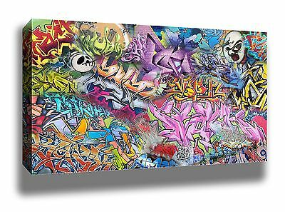 CRAZY TAGS GRAFFITI STREET ART HIGH QUALITY POSTER FRAMED CANVAS PRINT 18x12""