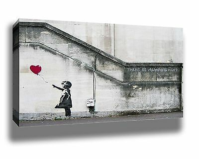 BANKSY THERE IS ALWAYS HOPE STREET ART GRAFFITI FRAMED CANVAS PRINT 18x12""