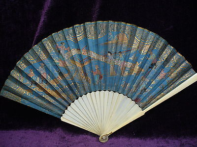 """Antique Chinese hand fan 11"""""""