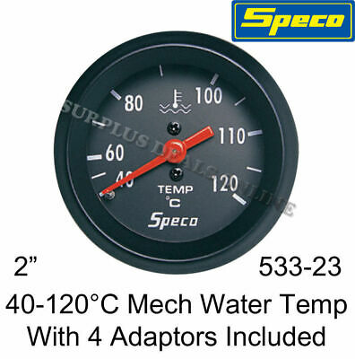 "Speco Meter Automotive Gauge Mechanical Water Temp 2"" Black #S533-23A"