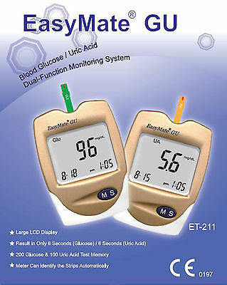 Gout Test Monitor Kit - 2 in 1 - also Glucose - EASYMATE - full kit & strips