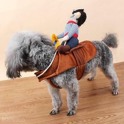 Riding Horse Dog Costume With Cowboy Hat Pet Cat Funny Halloween Party Clothes