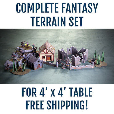 Complete 4′ x 4′ Fantasy terrain set for 28mm Warmachine Horders Warhammer FB
