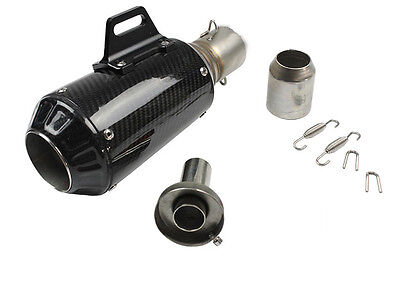 51mm Carbon Fiber Motorcycle GP Exhaust Muffler Pipe Silencer End Can Slip-On