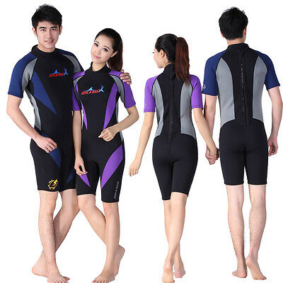 1.5mm Women Men Diving Surfing Shorty Shortie Short Sleeves Wetsuit Rash Guard