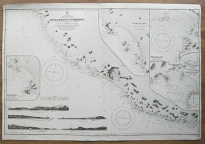 1886 Mexico Mangrove Bluff To C. Corrientes Vintage Admiralty Chart Map